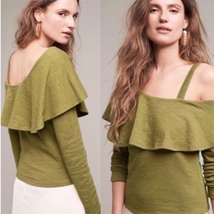Anthropologie | Off Shoulder Olive Top